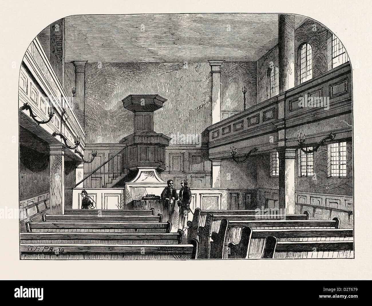 INTERIOR OF THE MORAVIAN CHAPEL IN FETTER LANE LONDON - Stock Image