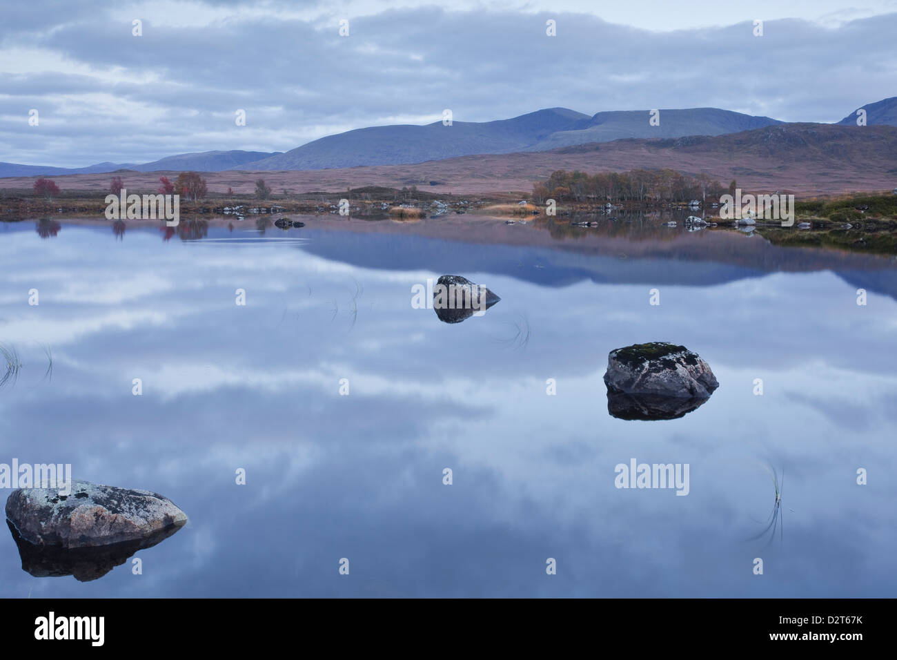 Loch Ba on Rannoch Moor at dusk, a Site of Special Scientific Interest, Perth and Kinross, Highlands, Scotland, - Stock Image