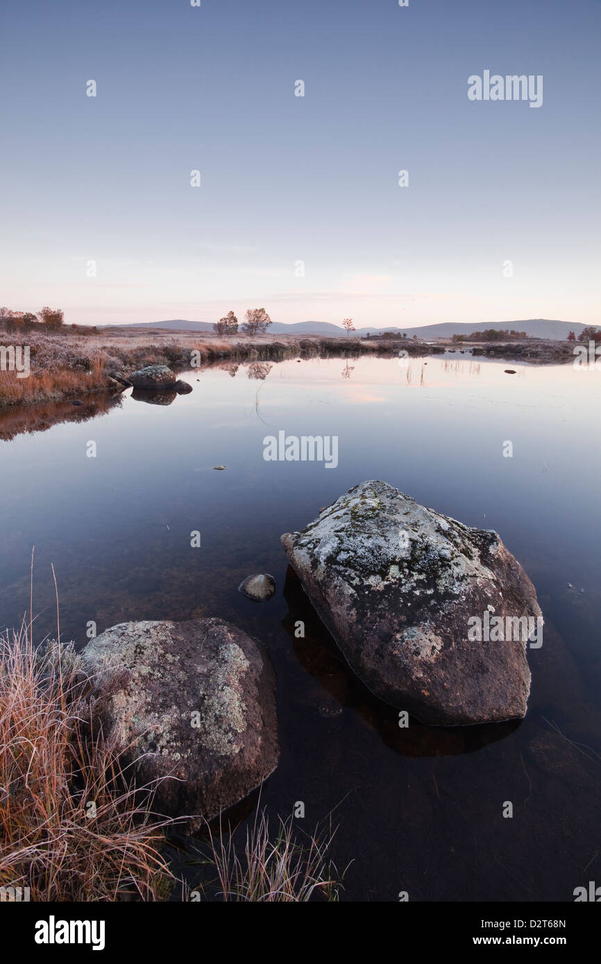 Loch Ba on a frosty morning at Rannoch Moor, a Site of Special Scientific Interest, Perth and Kinross, Highlands, - Stock Image
