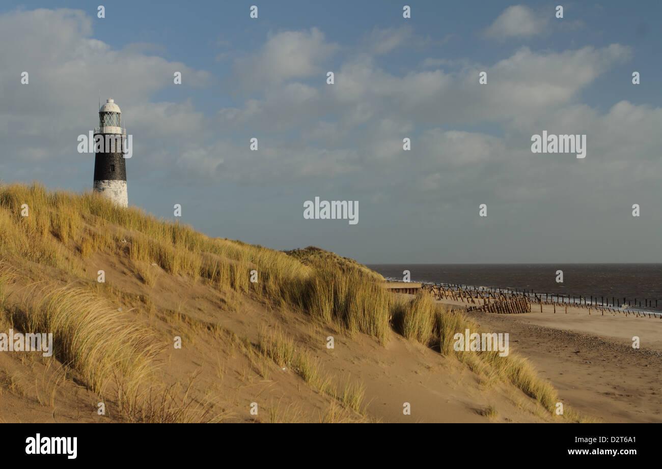 spurn point lighthouse yorkshire coast UK - Stock Image