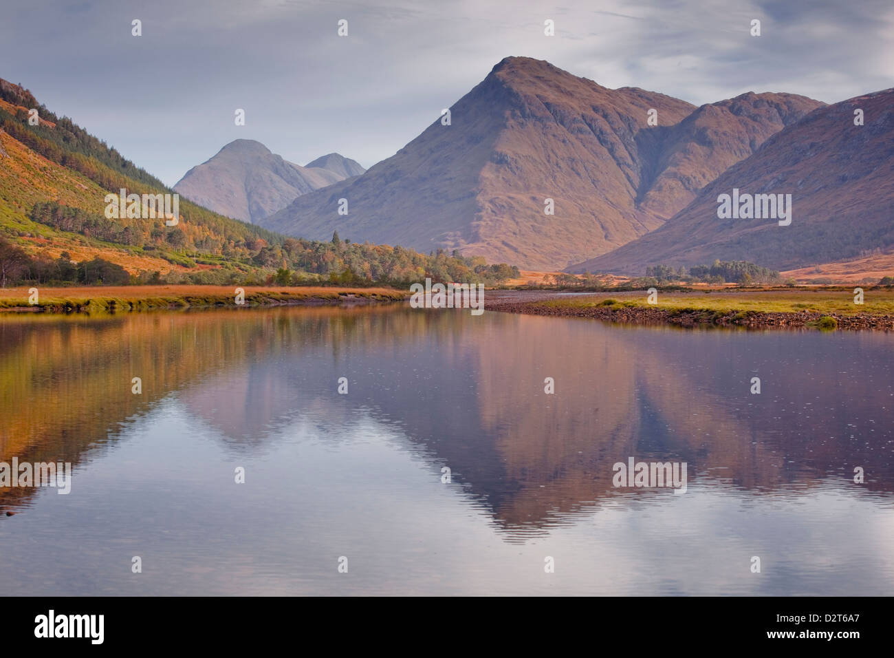 The waters of Loch Etive reflecting the surrounding mountains, Argyll and Bute, Scotland, United Kingdom, Europe - Stock Image