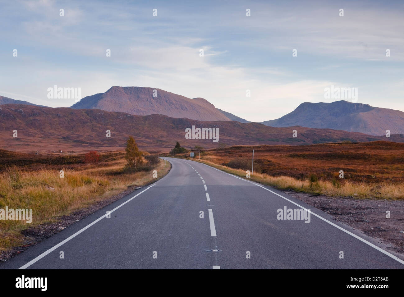 The main road through Rannoch Moor, a Site of Special Scientific Interest, Highlands, Scotland, United Kingdom, - Stock Image