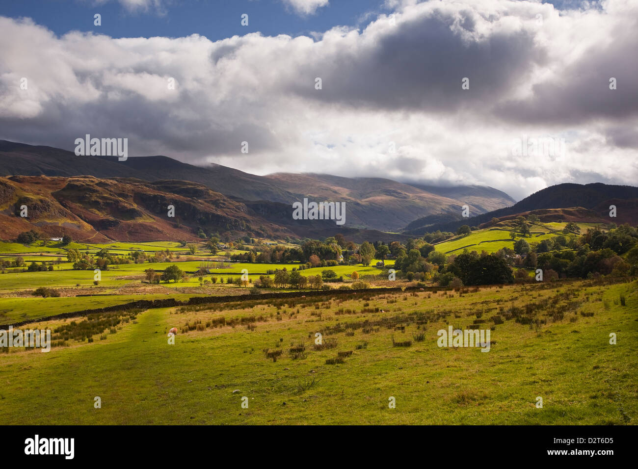 Looking towards Hartsop and the surrounding fells such as Hartsop Dodd in the Lake District National Park, Cumbria, - Stock Image