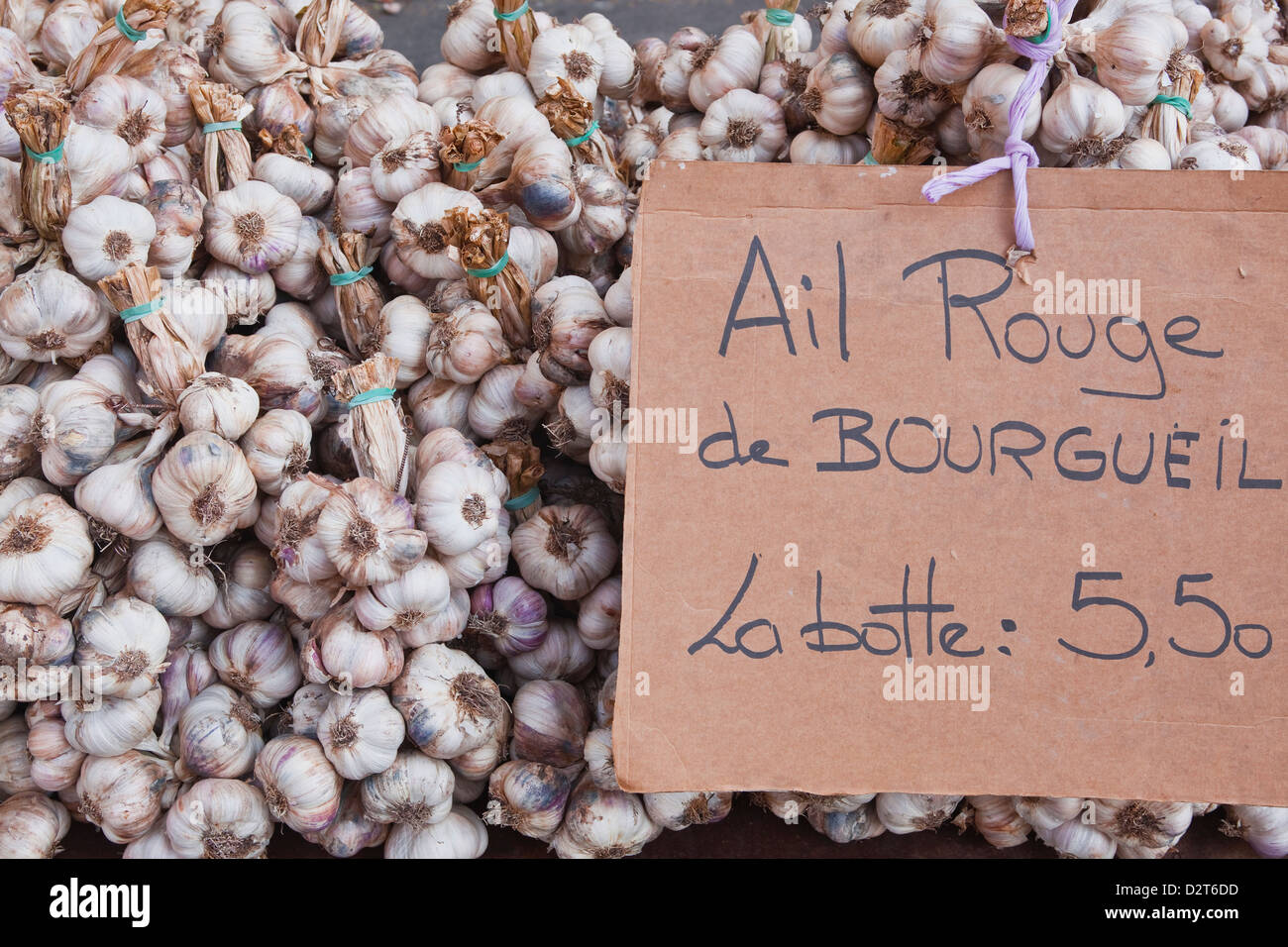 Bulbs of garlic on sale at a market in Tours, Indre-et-Loire, Loire Valley, France, Europe - Stock Image