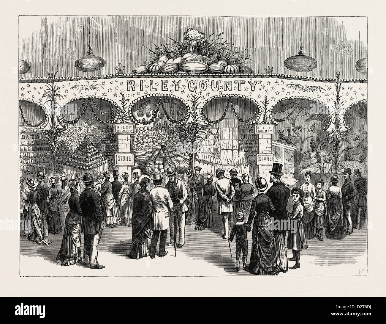 KANSAS: THE RILEY COUNTY PRIZE EXHIBIT AT THE WESTERN NATIONAL FAIR, BISMARCK GROVE, LAWRENCE. U.S., engraving 1880 - Stock Image