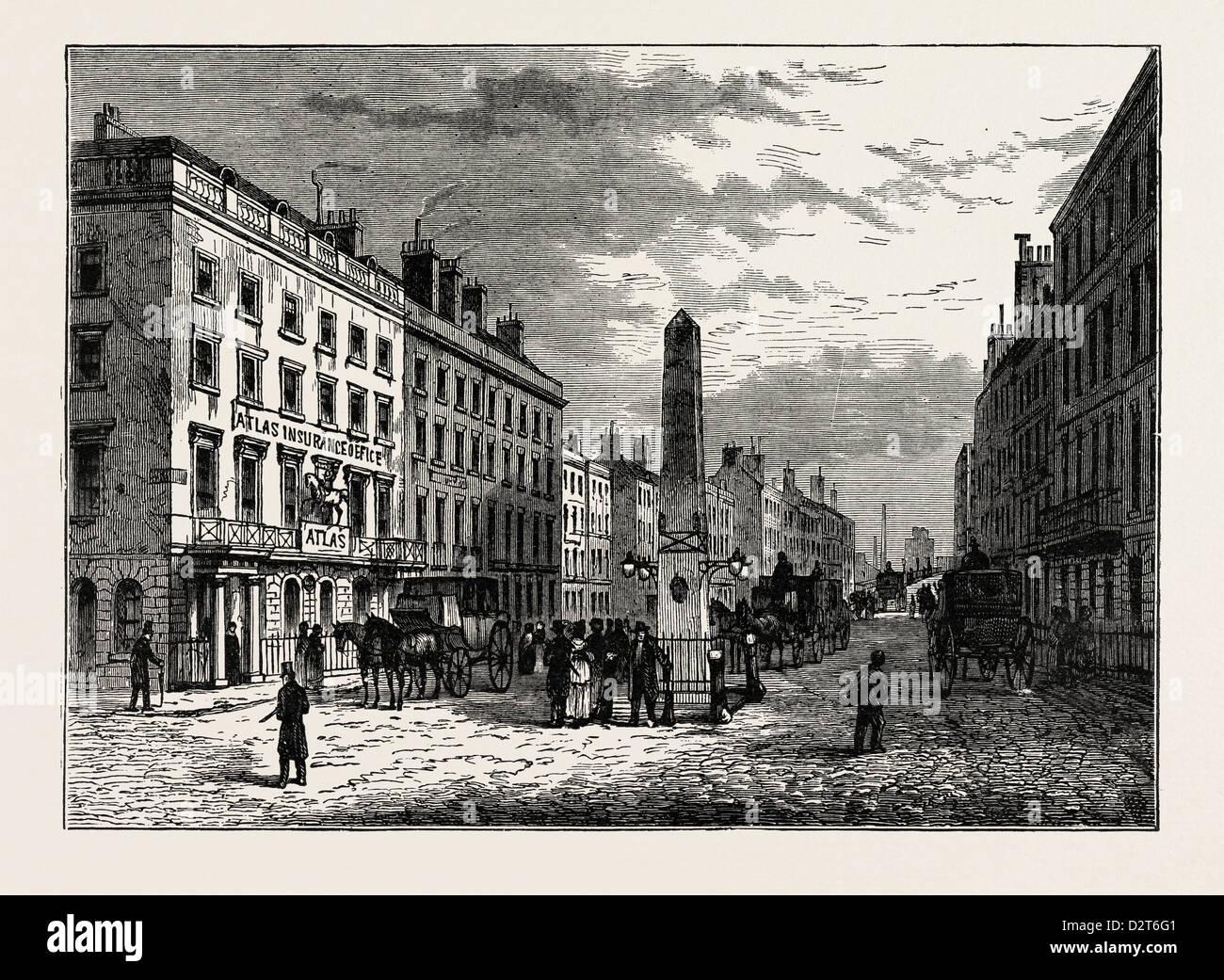 NEW BRIDGE STREET AND THE OBELISK IN 1795 LONDON - Stock Image