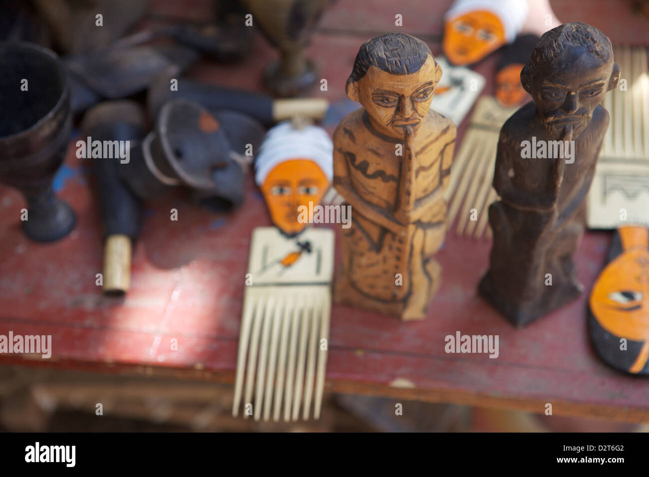 Carved souvenirs for sale, Chencha, Dorze, Ethiopia, Africa - Stock Image