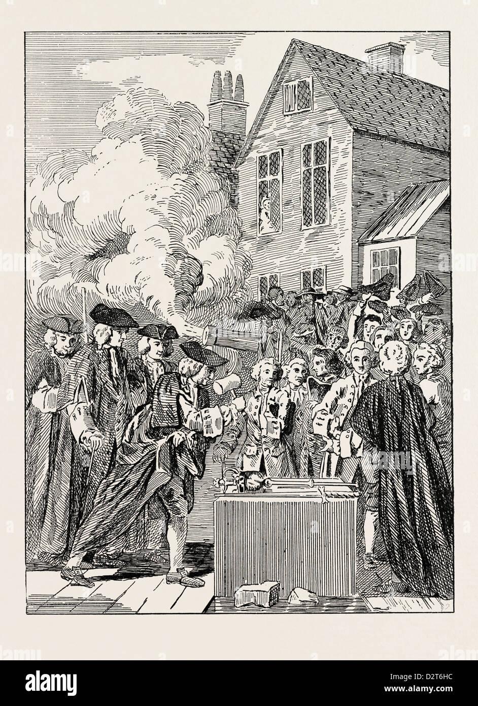 LAYING THE FOUNDATION-STONE OF BLACKFRIARS BRIDGE 1760 LONDON - Stock Image