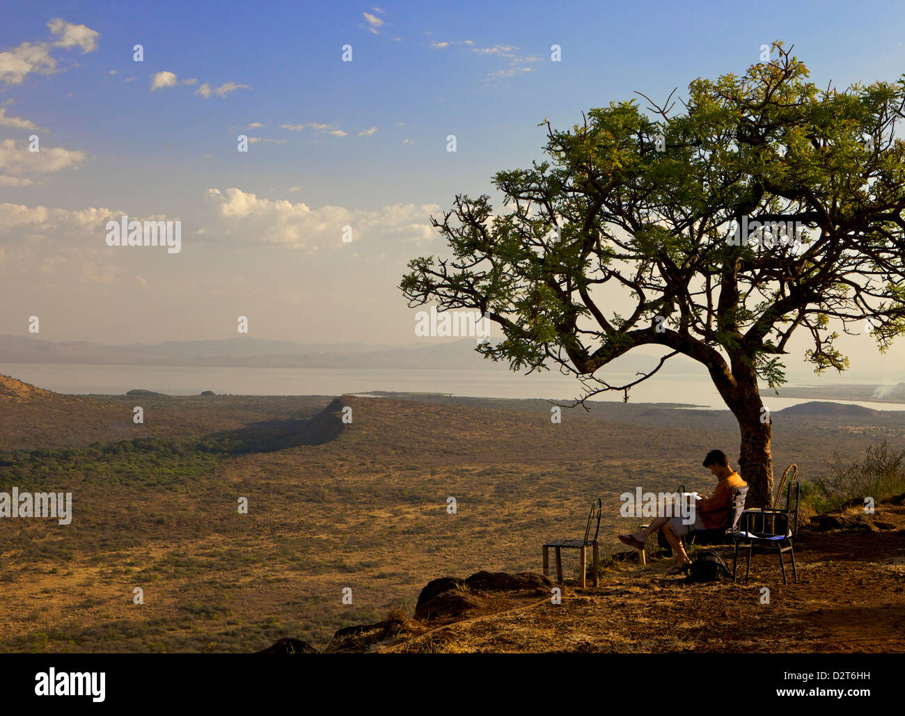 Overlooking the lower grasslands of Ethiopia's Nechisar National Park, Ethiopia, Africa Stock Photo