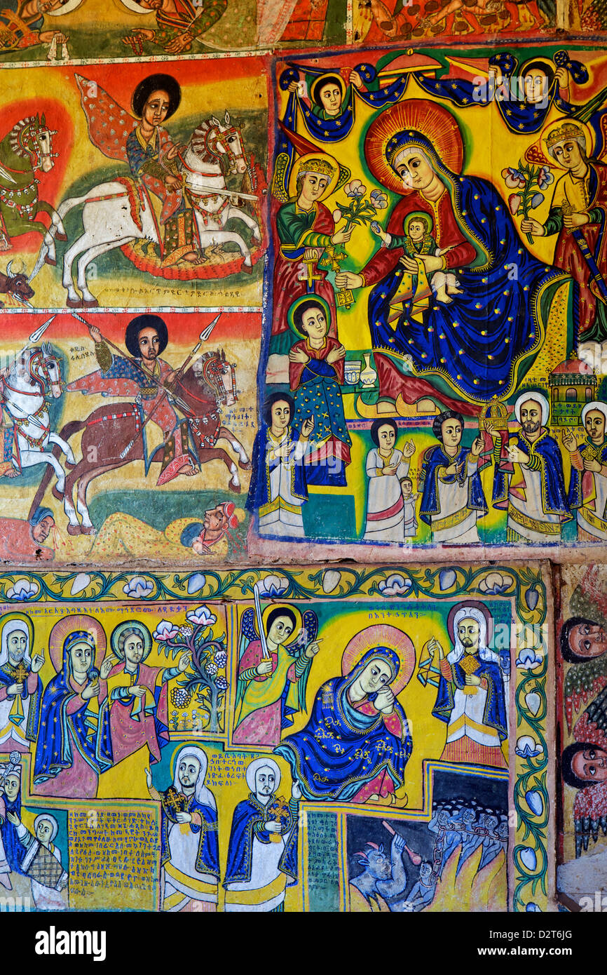 Murals in the interior of the Christian Monastery and church of Azuwa Maryam, Zege Peninsula, Lake Tana, Bahir Dar, - Stock Image
