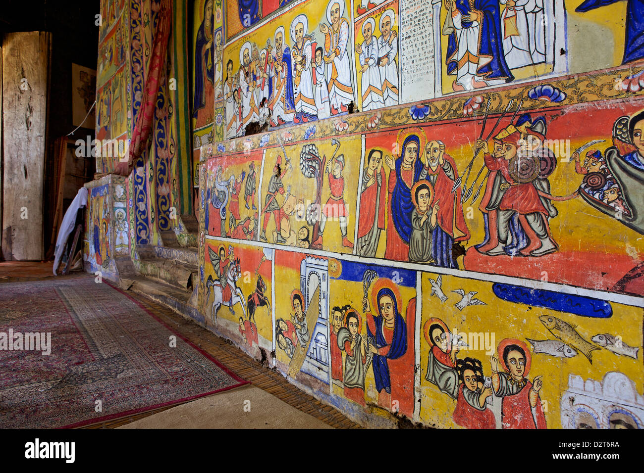 Murals in the interior of the Christian Monastery and church of Azuwa Maryam, Zege Peninsula, Lake Tana, Bahir Dar, - Stock Image