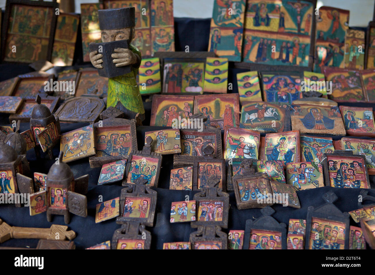 Souvenirs for sale, Zege Peninsula, Lake Tana, Ethiopia, Africa - Stock Image