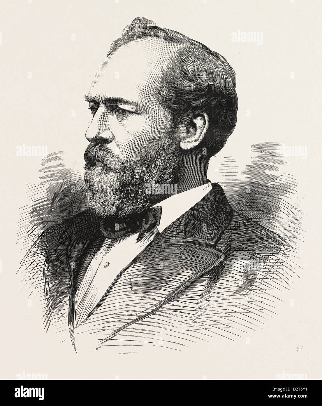 HON. JAMES A. GARFIELD, PRESIDENT-ELECT OF THE UNITED STATES, U.S., engraving 1880 1881 - Stock Image