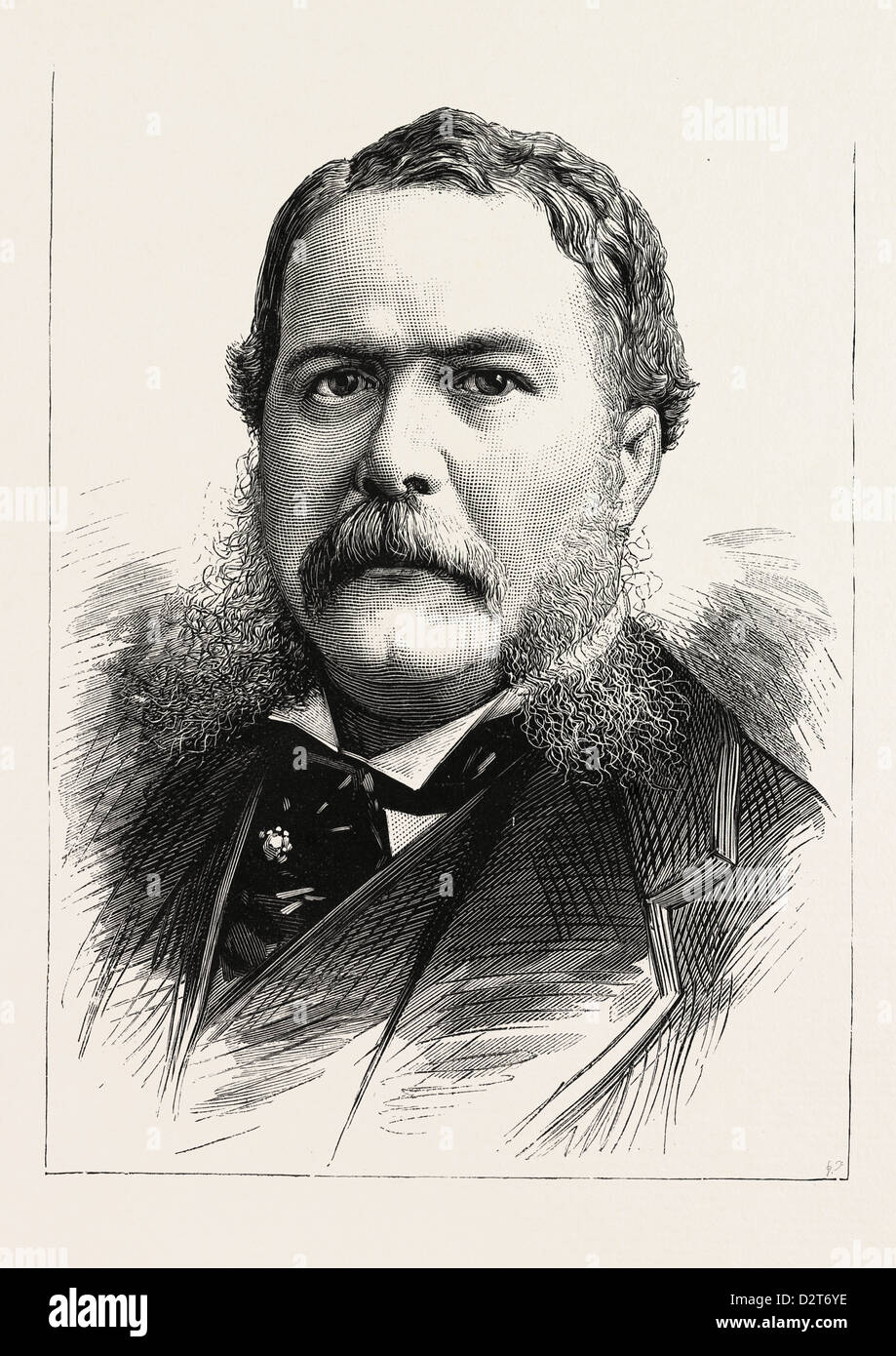 GENERAL CHESTER A. ARTHUR, VICE-PRESIDENT-ELECT OF THE UNITED STATES, U.S., engraving 1880 1881 - Stock Image