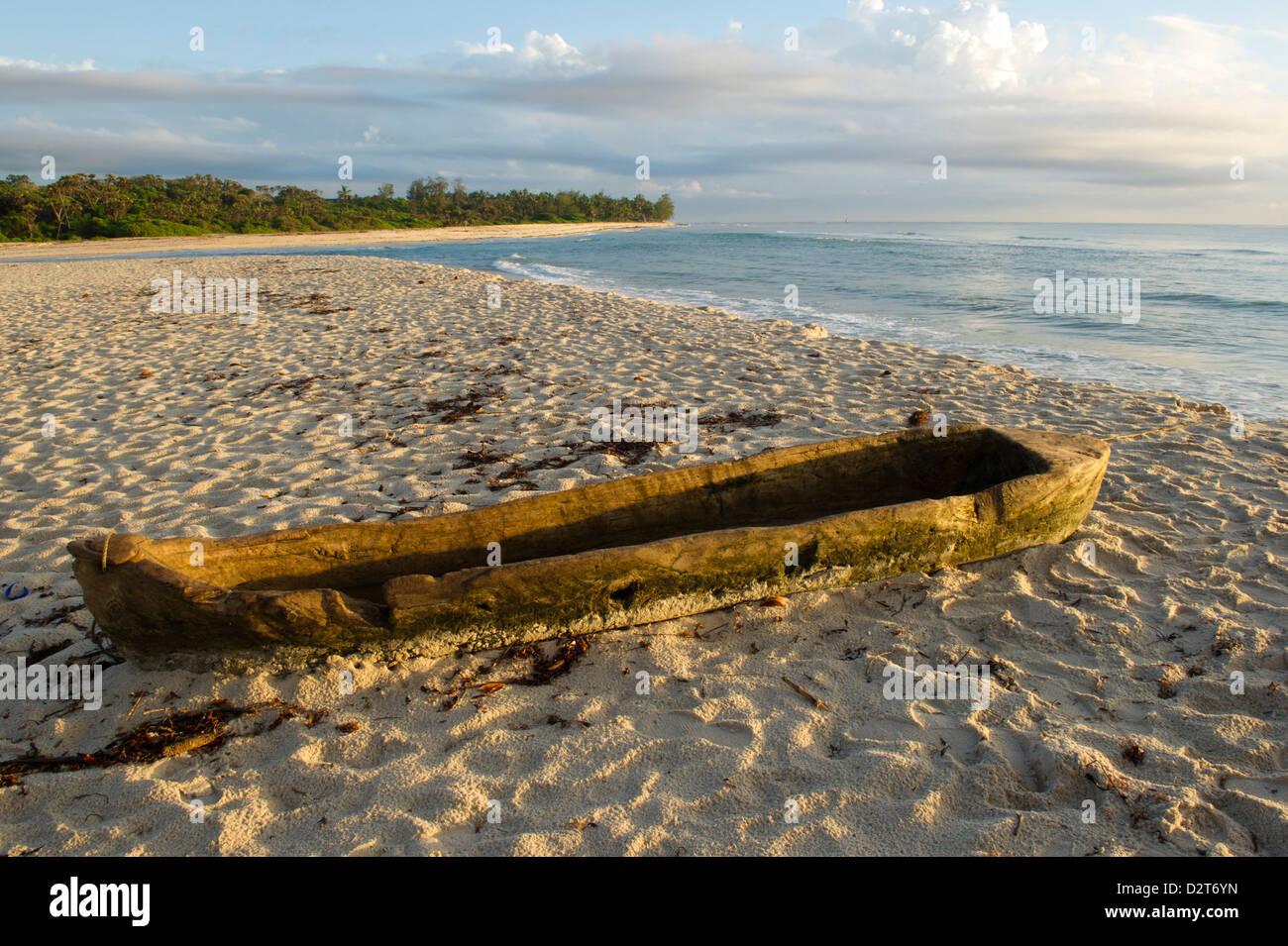 Dugout canoe, Diani Beach, Kenya - Stock Image