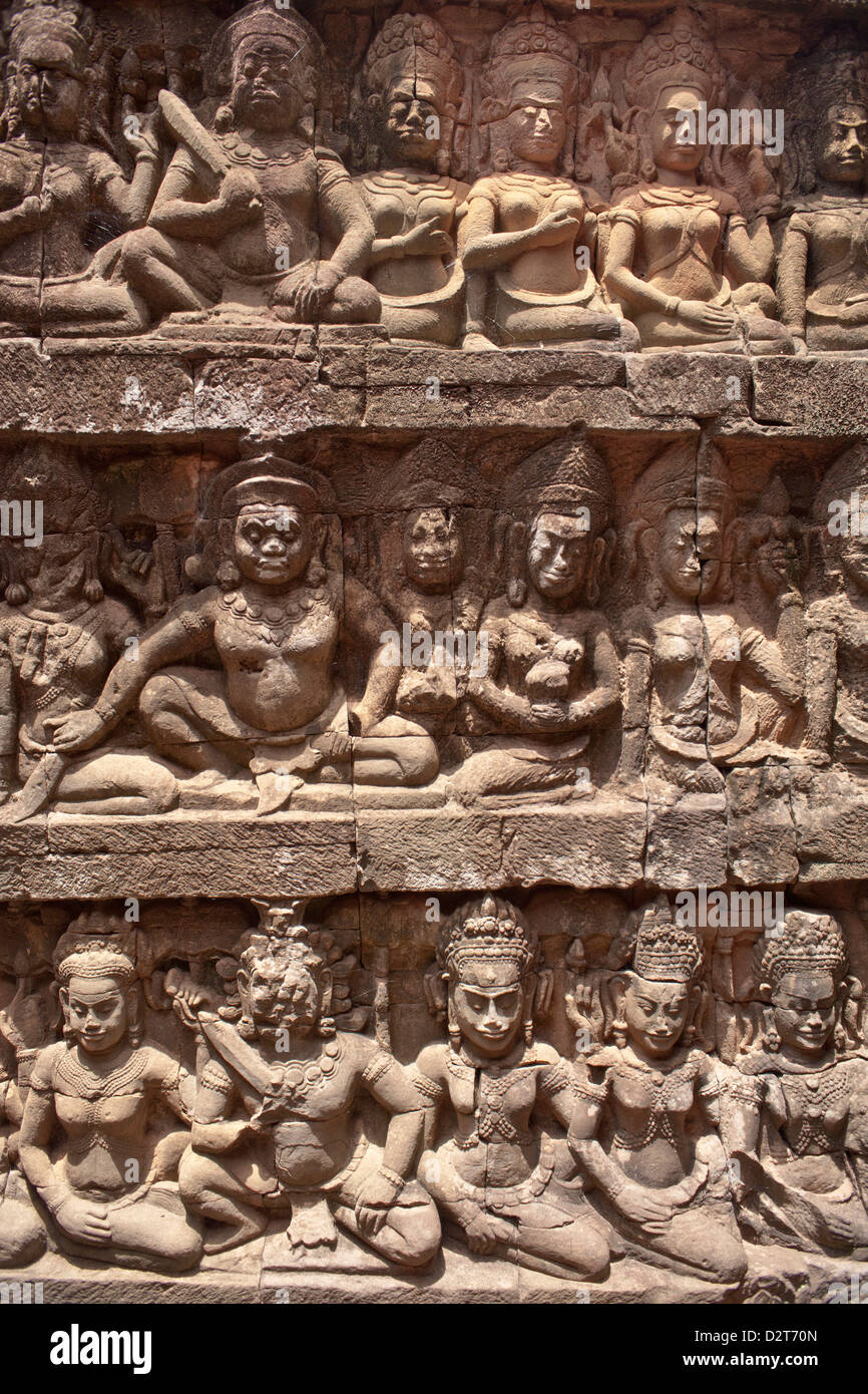 Stone carvings, Angkor Wat, UNESCO World Heritage Site, Siem Reap, Cambodia, Indochina, Southeast Asia, Asia - Stock Image