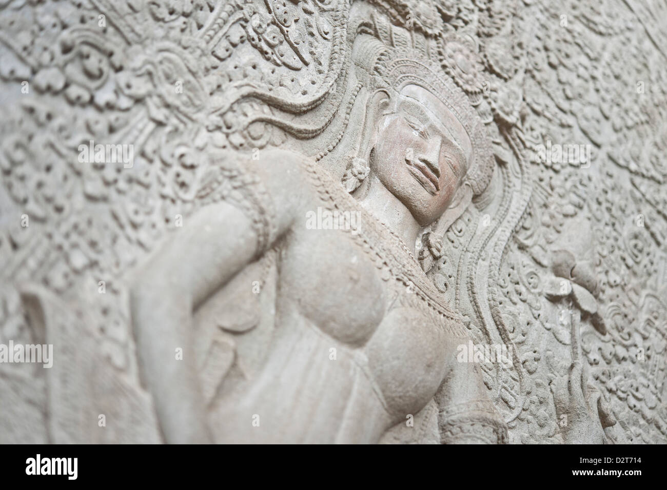 Stone relief carving, Angkor Wat, UNESCO World Heritage Site, Siem Reap, Cambodia, Indochina, Southeast Asia, Asia - Stock Image