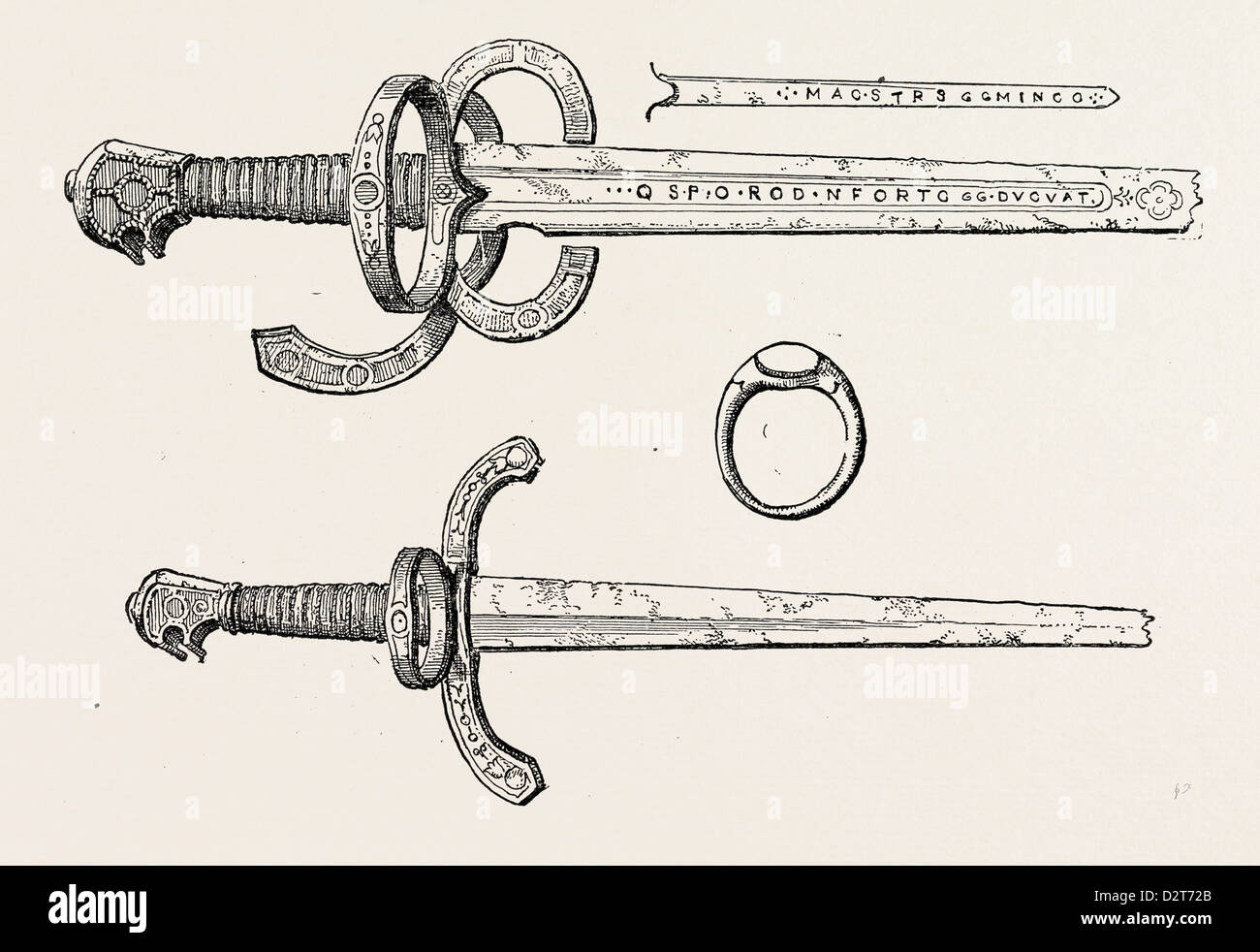 SWORD DAGGER AND RING OF KING JAMES IV. OF SCOTLAND - Stock Image
