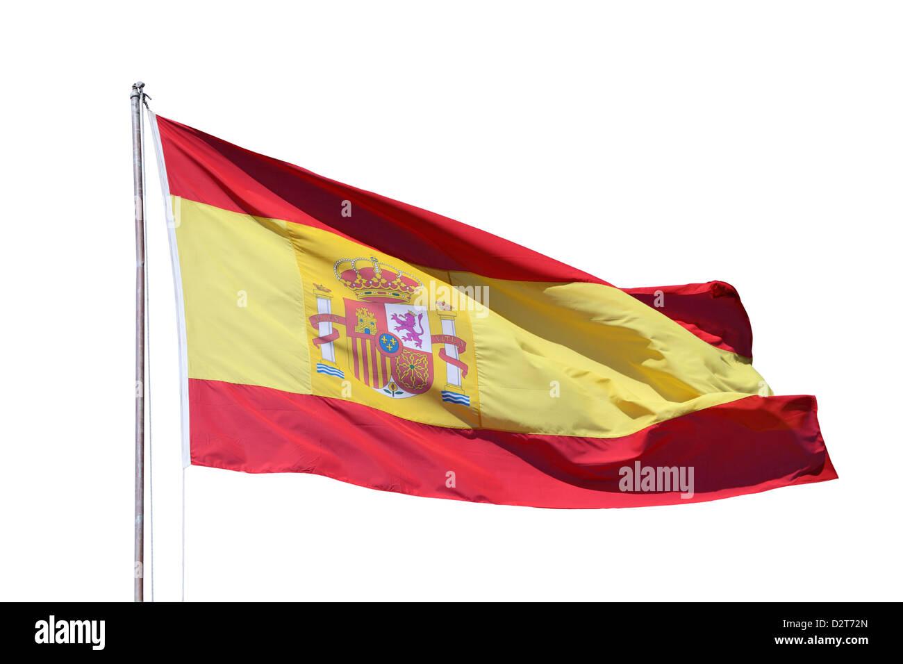 Spanish national flag isoliert over white background - Stock Image