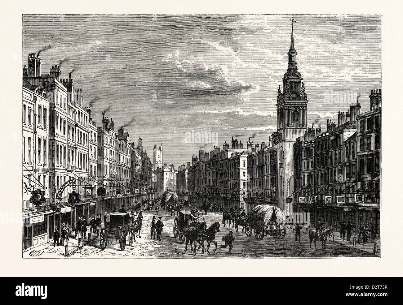 BOW CHURCH AND CHEAPSIDE IN 1750 LONDON - Stock Image
