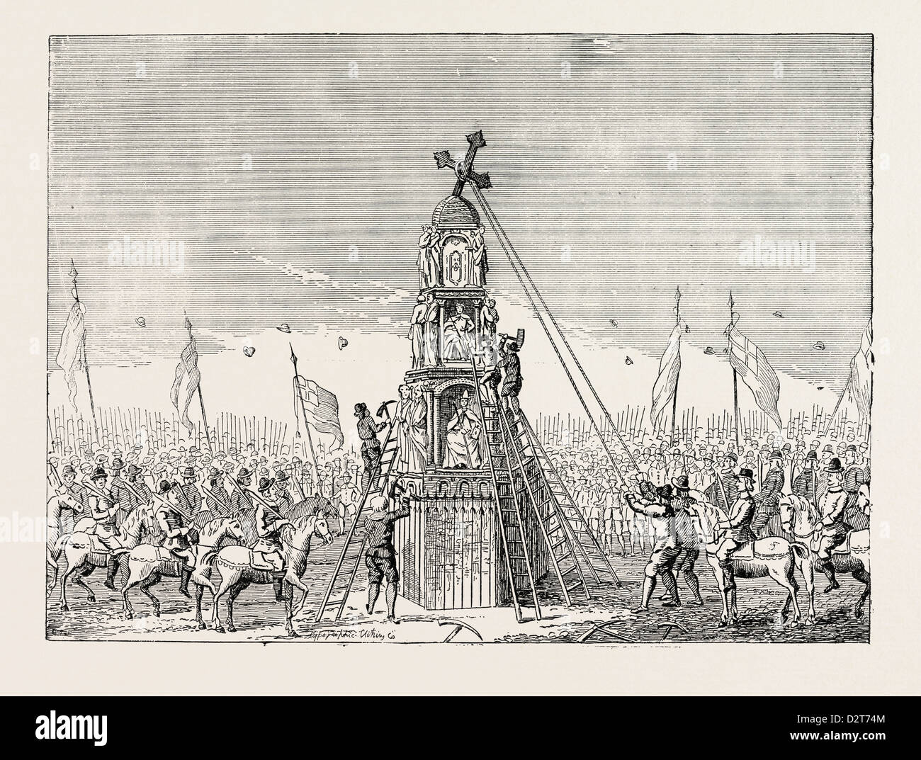 THE DEMOLITION OF CHEAPSIDE CROSS. From an old Print LONDON - Stock Image