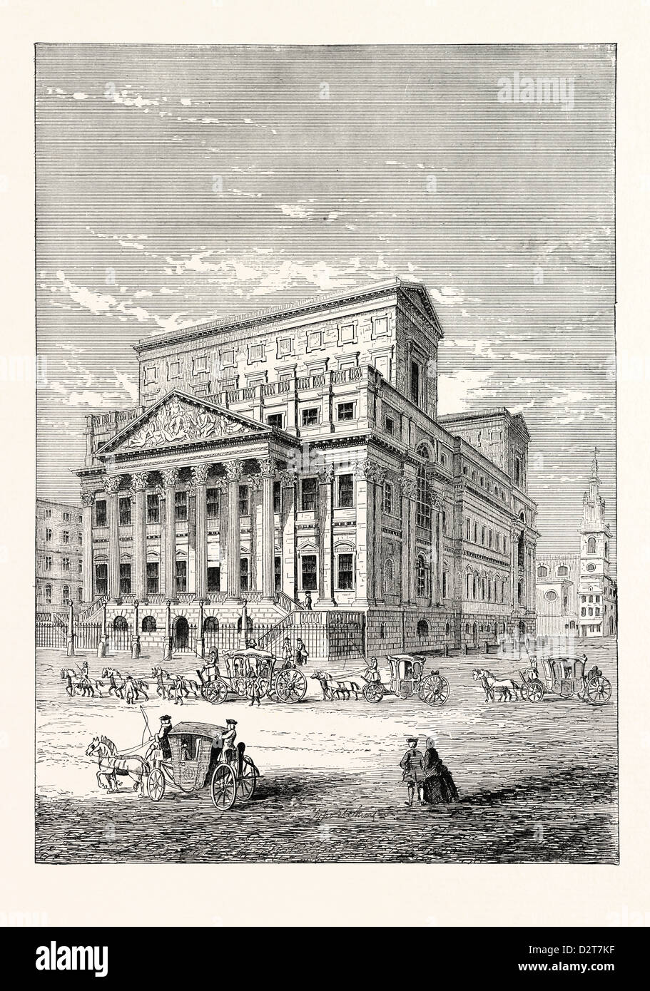 THE MANSION HOUSE IN 1750 LONDON - Stock Image