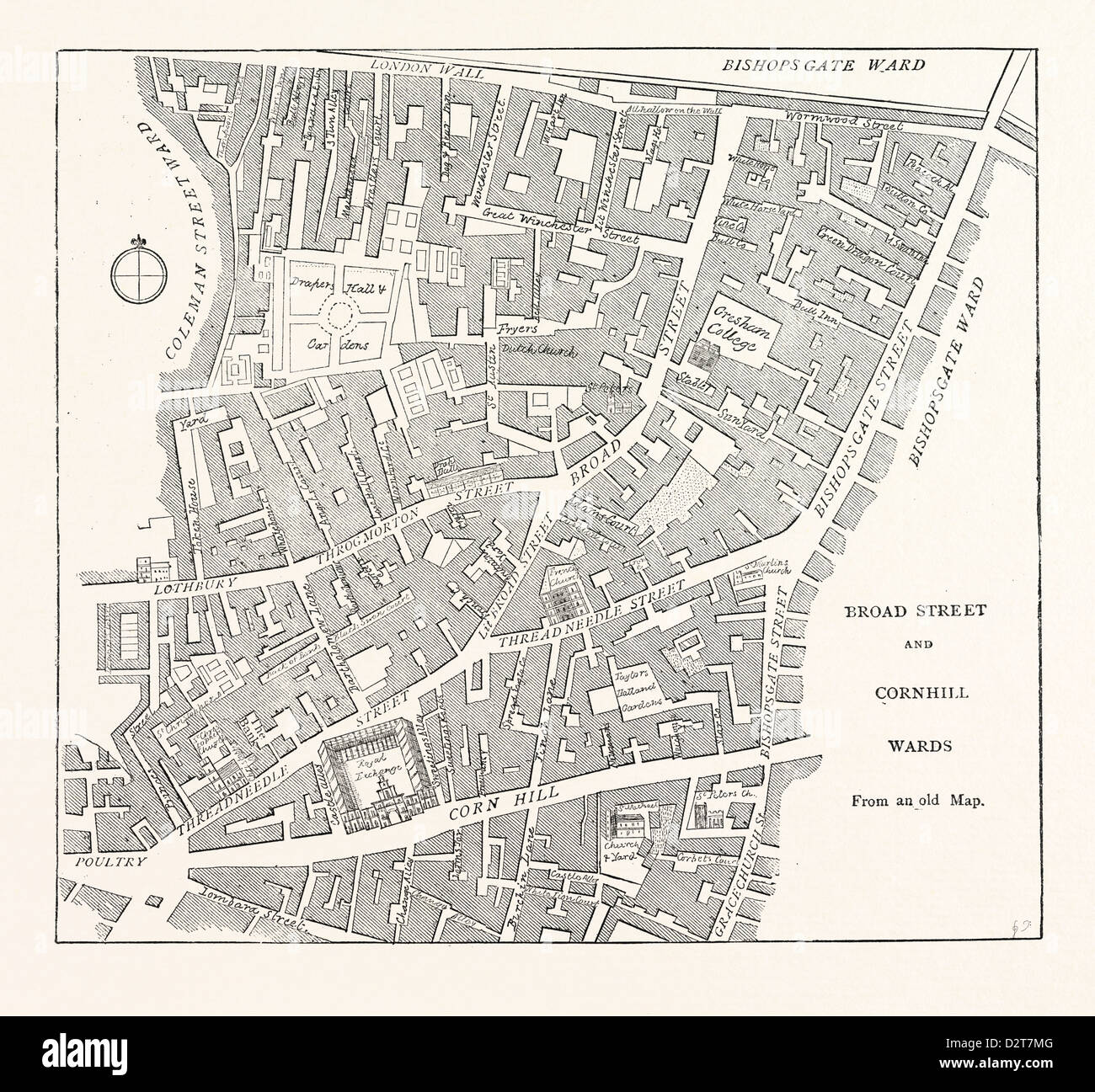 BROAD STREET AND CORNHILL WARDS From a Map of 1750 LONDON - Stock Image