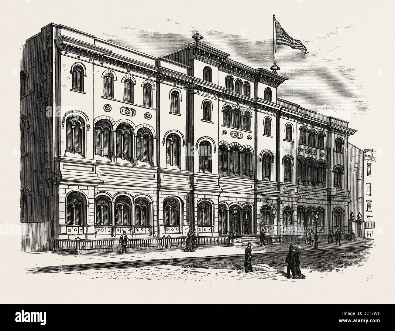 NEW YORK: THE ASTOR LIBRARY, WITH ITS RECENT ADDITION. U.S., engraving 1880 1881 - Stock Image