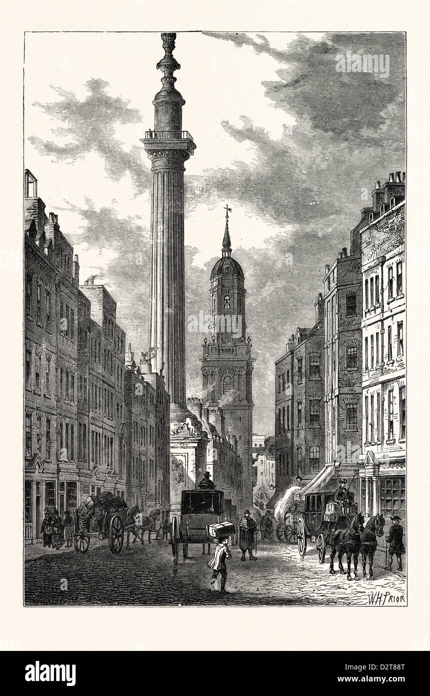 THE MONUMENT AND THE CHURCH OF ST. MAGNUS ABOUT 1800 LONDON - Stock Image