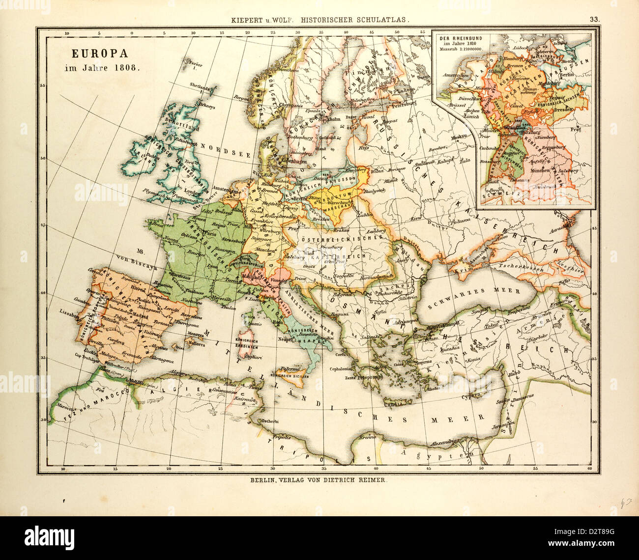 MAP OF EUROPE IN 1808 - Stock Image