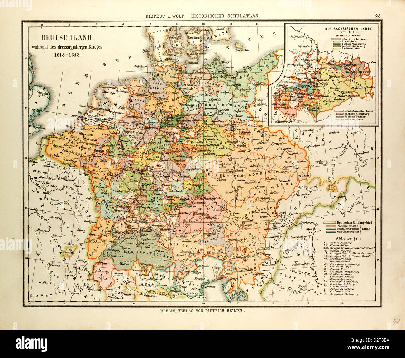 MAP OF GERMANY DURING THE THIRTY YEARS' WAR 1618 - 1648