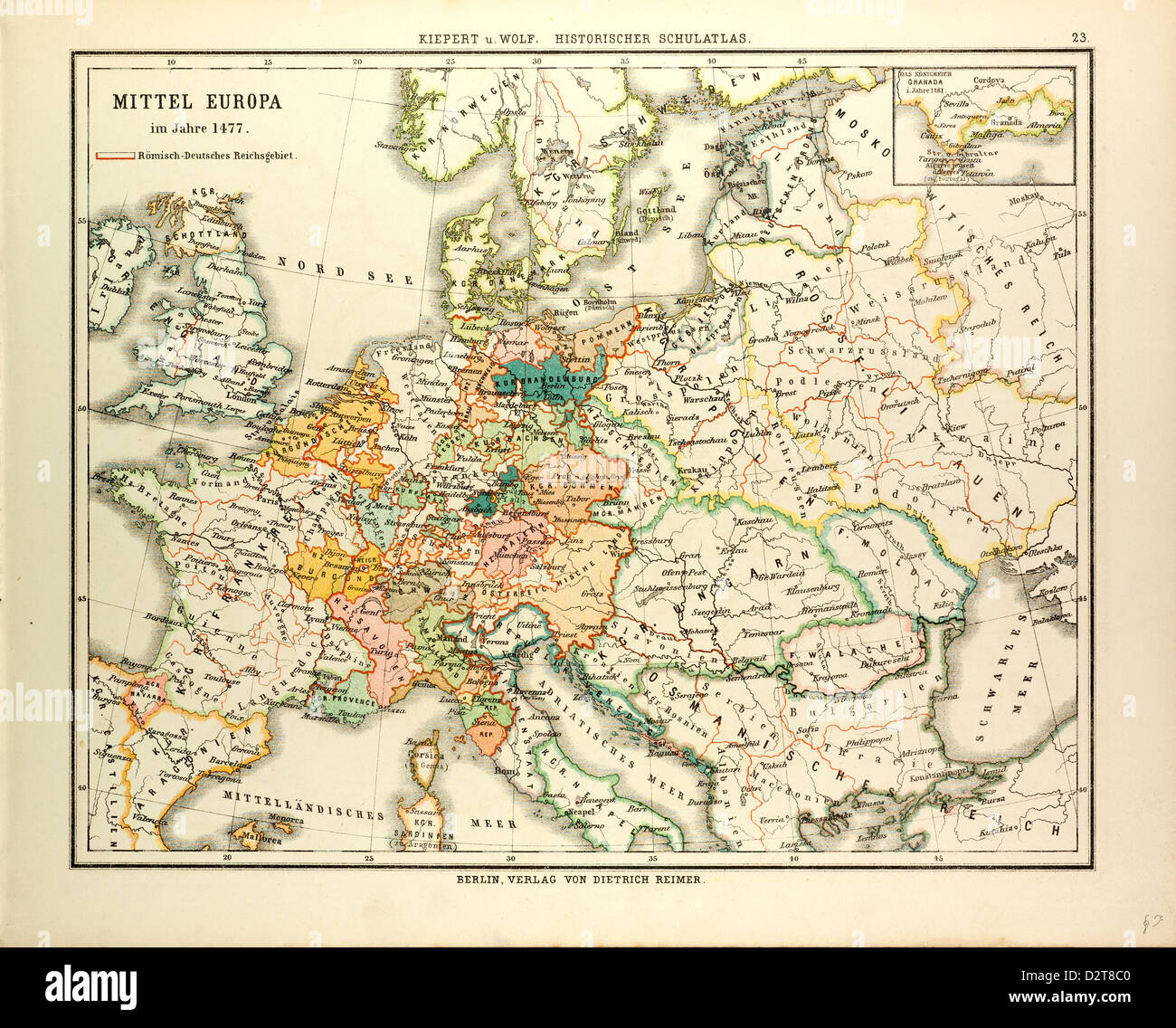 MAP OF CENTRAL EUROPE IN 1477 Stock Photo: 53393872 - Alamy