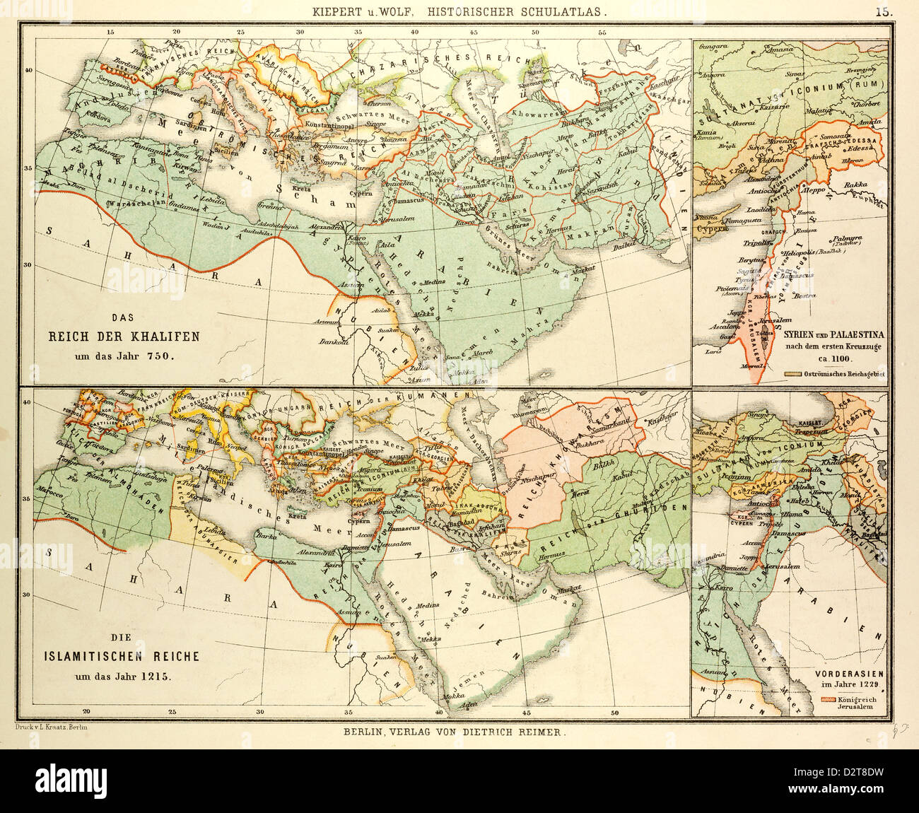 MAP OF THE UMAYYAD CALIPHATE EMPIRE IN 750 AND THE ISLAMIC EMPIRE IN 1215 Stock Photo