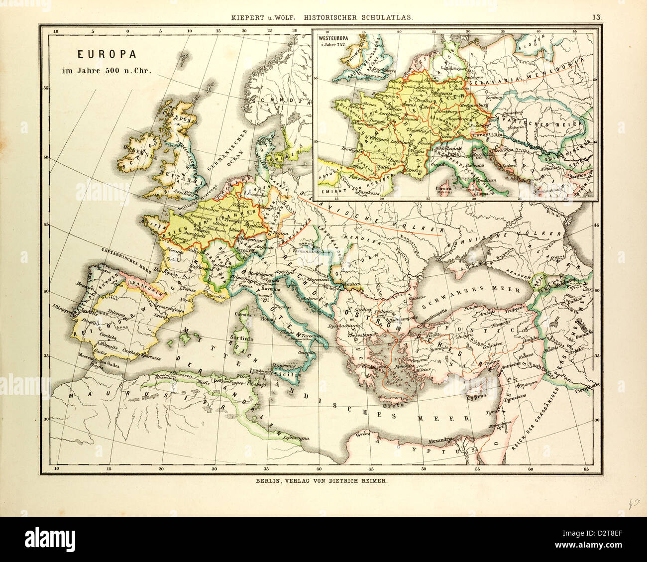Map Of Europe In 500 A D Stock Photo 53393943 Alamy