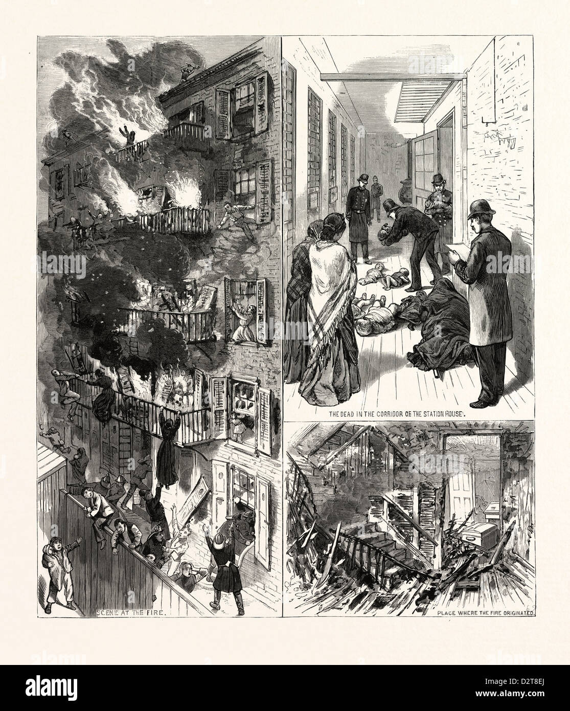 NEW YORK: THE FATAL FIRE IN THE REAR TENEMENT OF NO. 35 MADISON STREET, U.S., engraving 1880 1881 - Stock Image