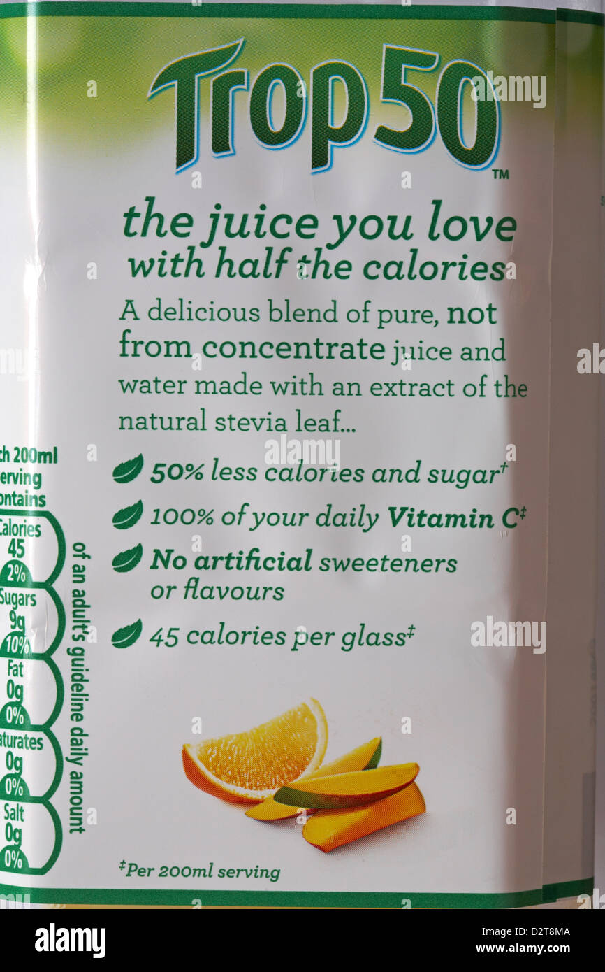 Trop50 the juice you love with half the calories - information on label of Tropicana Trop50 Orange & Mango Juice drink