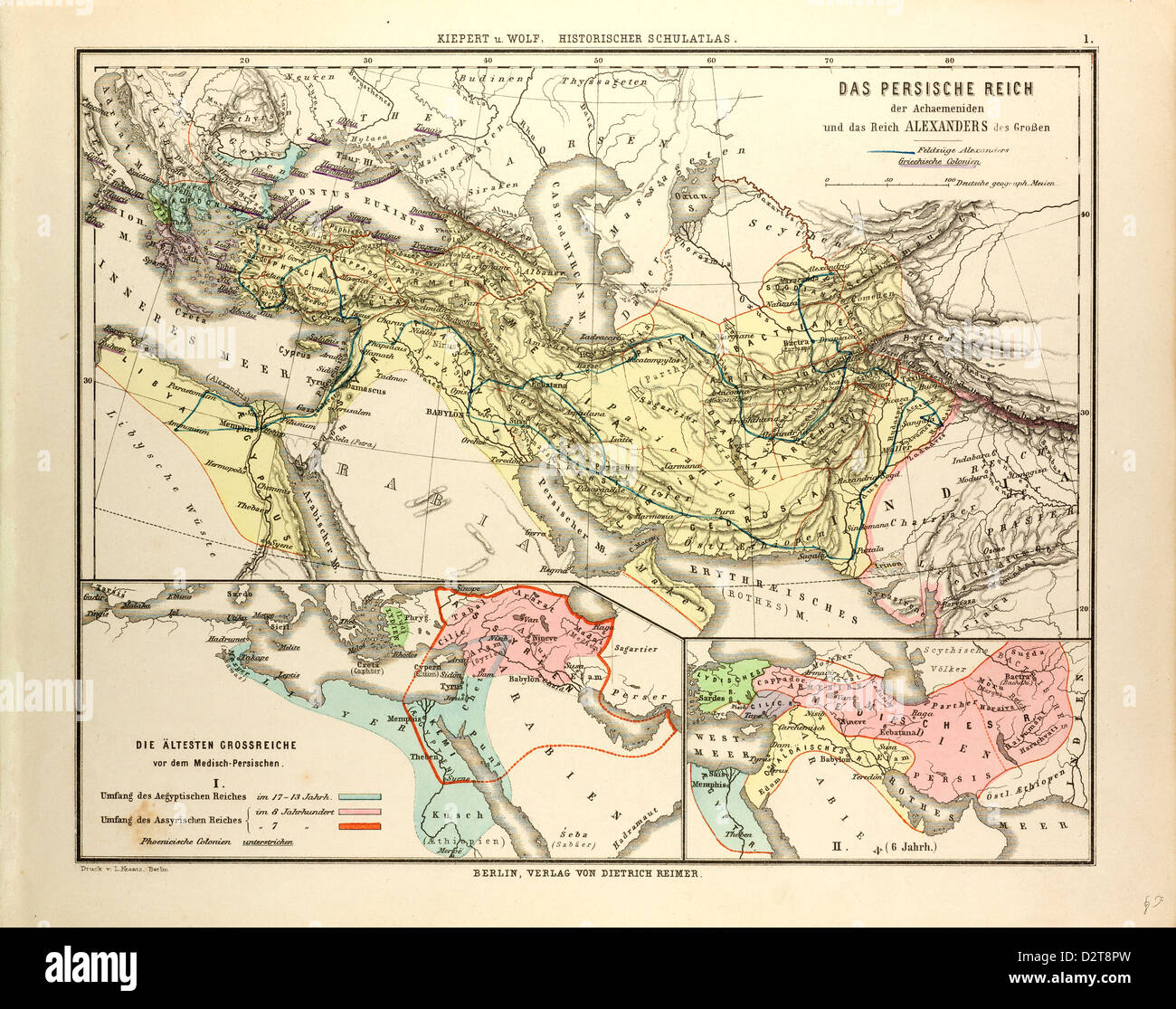 MAP OF THE PERSIAN EMPIRE AND THE EMPIRE OF ALEXANDER THE GREAT - Stock Image