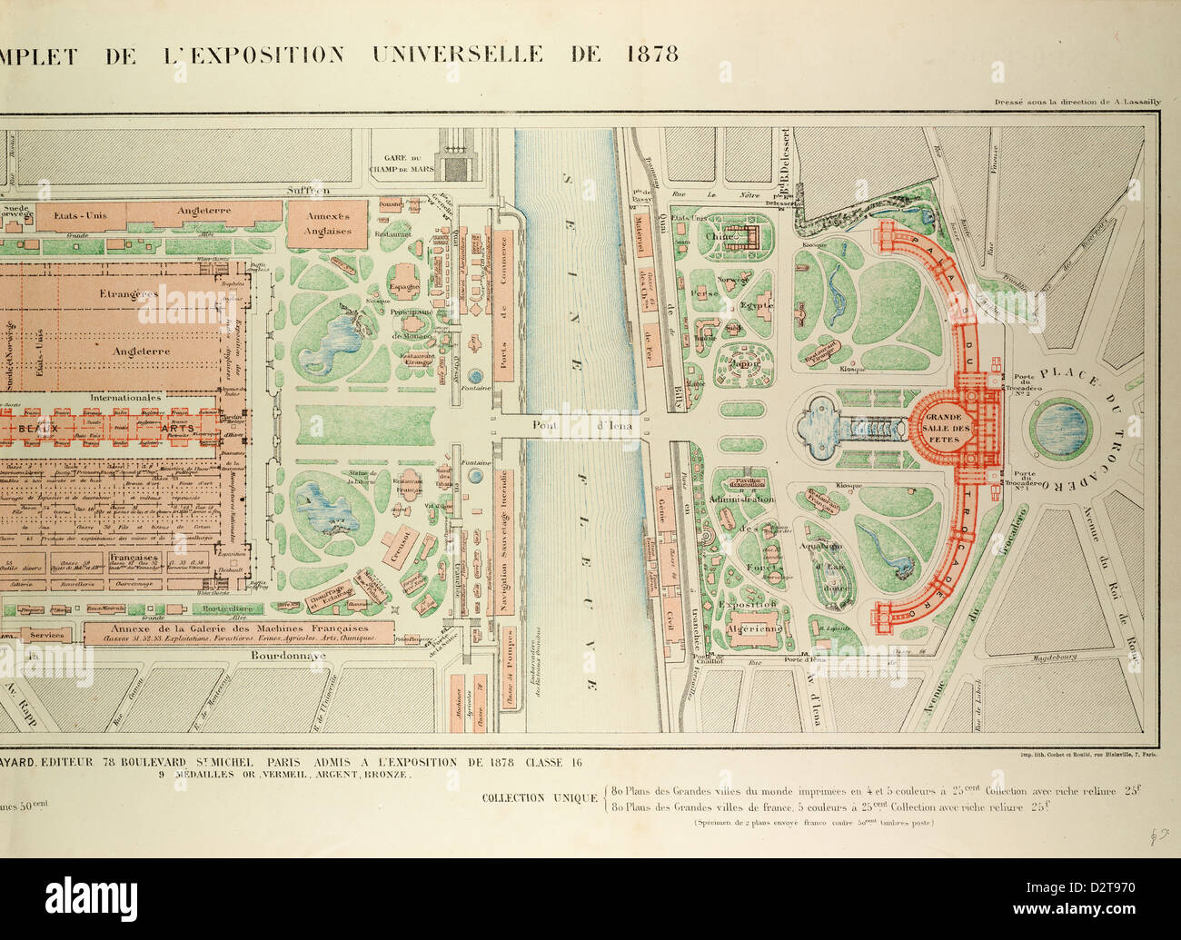 MAP OF THE UNIVERSAL EXPOSITION OF 1878 PARIS - Stock Image