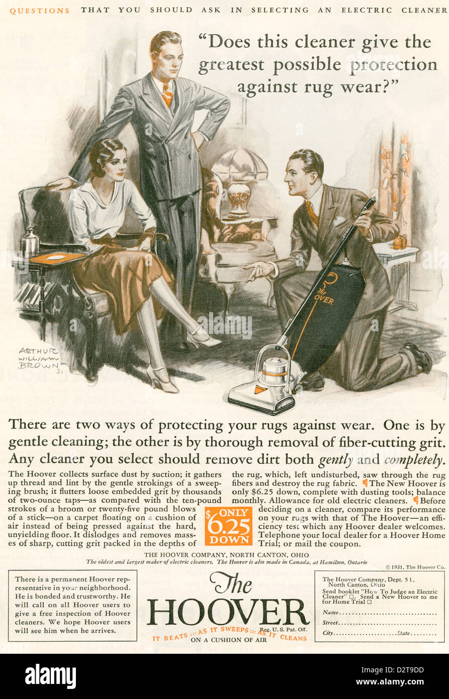 A 1930's advertisement for The Hoover. - Stock Image