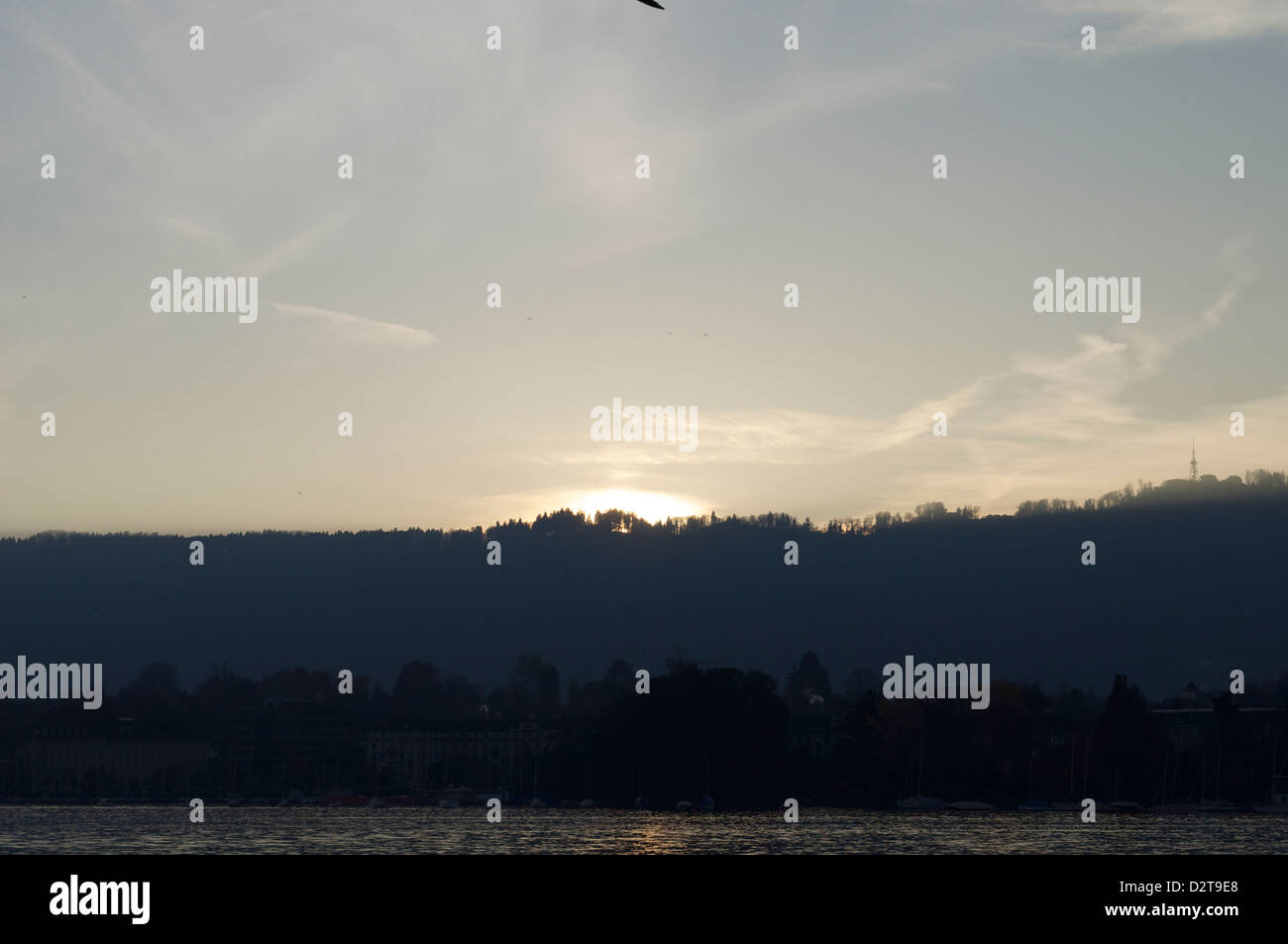 Sunset along the lake of Zurich - Stock Image