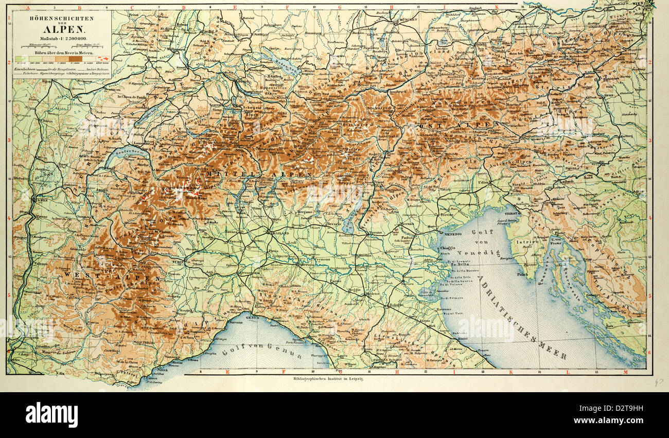 OLD MAP OF THE ALPS Stock Photo: 53394813 - Alamy