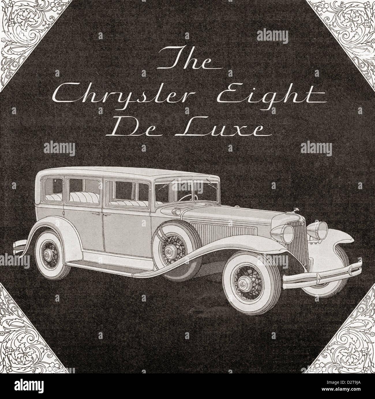 A 1930's advertisement for a Chrysler Eight De Luxe car. - Stock Image
