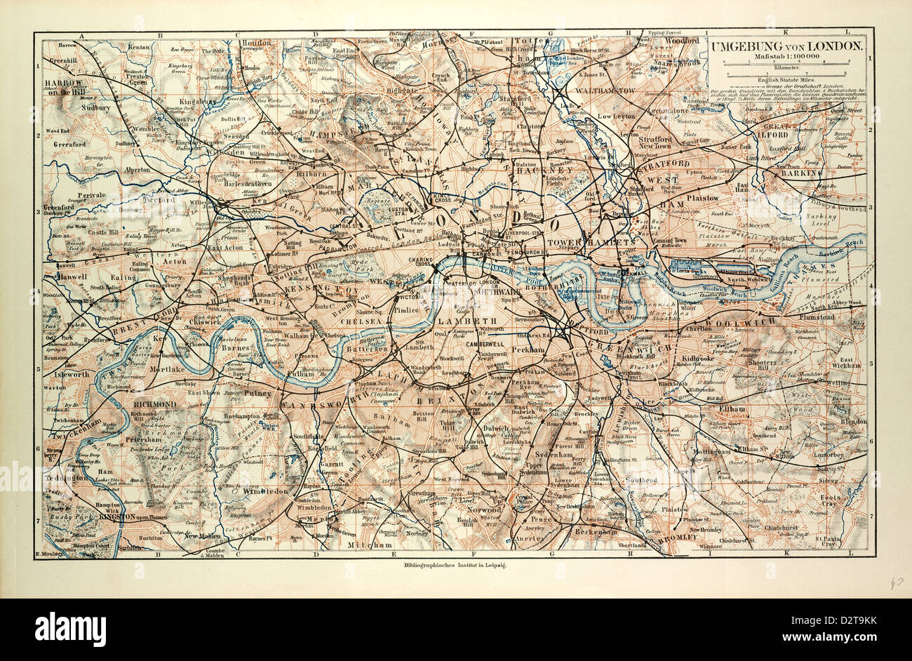 OLD MAP OF LONDON - Stock Image