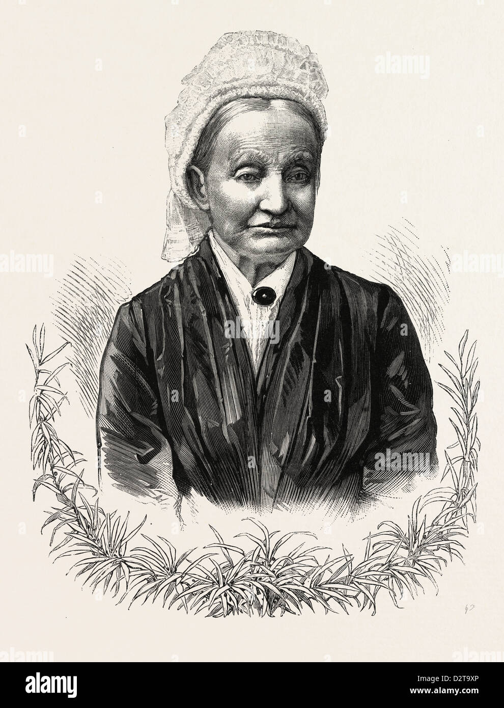 THE MOTHER OF PRESIDENT-ELECT GARFIELD. Eliza Ballou Garfield, U.S., engraving 1880 1881 - Stock Image