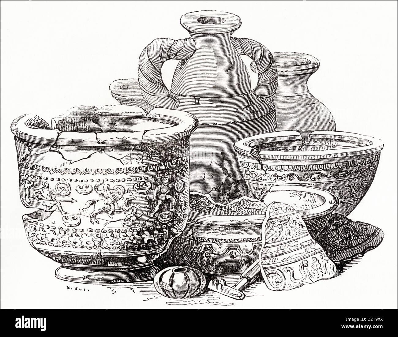Roman antiquities found Lombard Street London in 1735 Victorian woodcut engraving circa 1845 - Stock Image