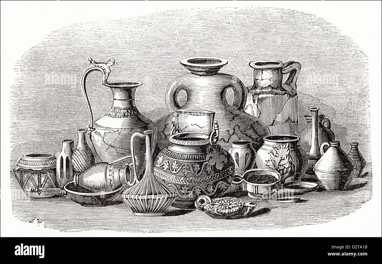 Roman antiquities found in Britain Victorian woodcut engraving circa 1845 - Stock Image