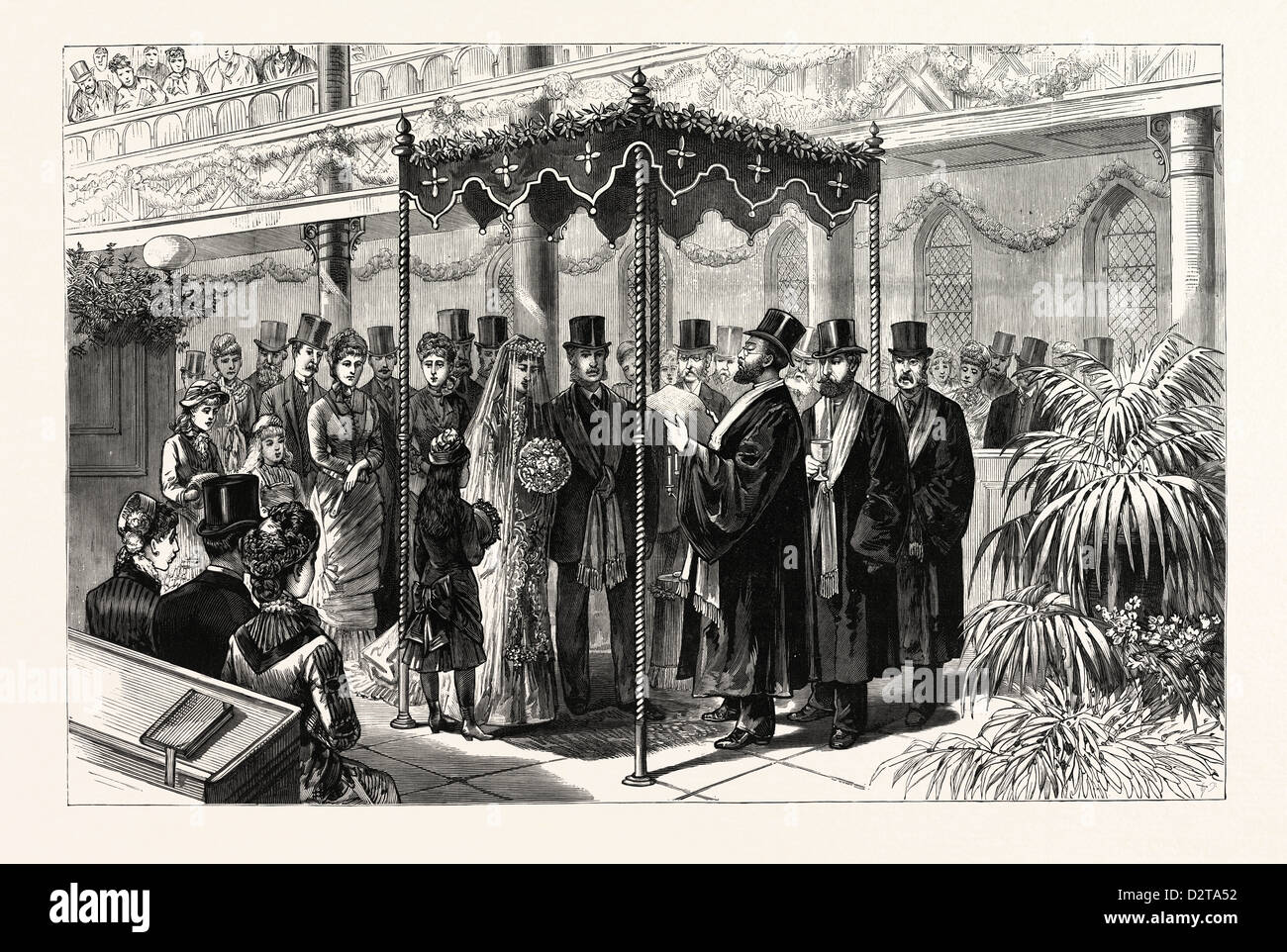 THE ROTHSCHILD-PERUGIA WEDDING IN LONDON, JANUARY 19TH, THE HEBREW CEREMONY BENEATH THE CANOPY, UK, engraving 1880 - Stock Image
