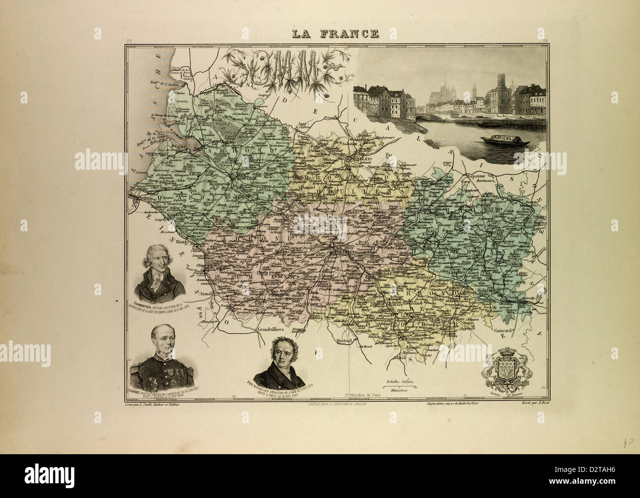 MAP OF SOMME 1896 FRANCE - Stock Image