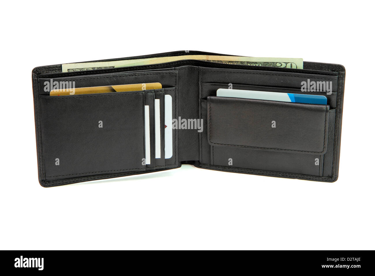 Open black wallet with business cards and dollars isolated - Stock Image