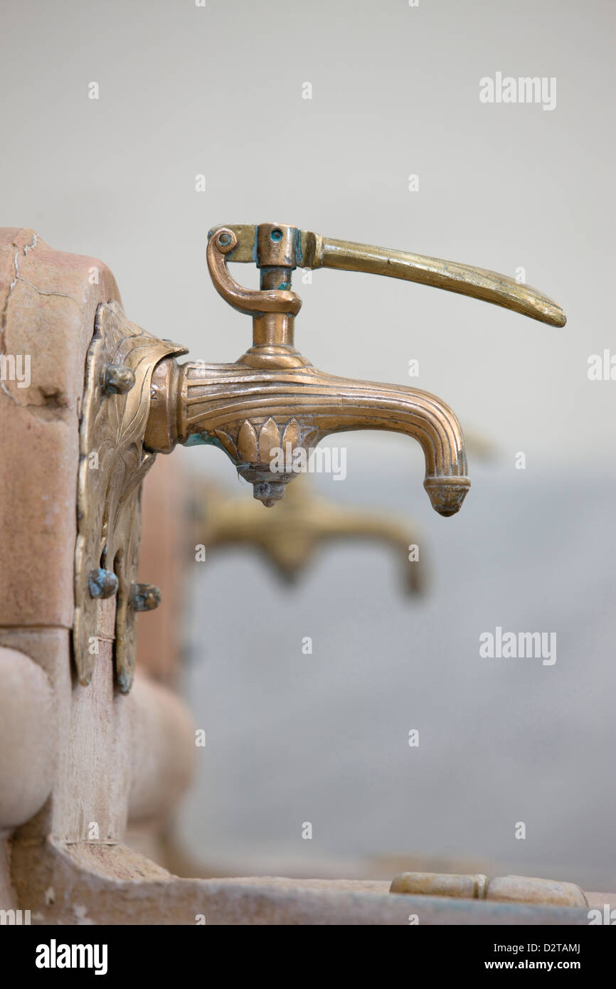 SPRING WATER TAPS ART DECO GROTTO OF SOURCE DES CELESTINES VICHY AUVERGNE FRANCE - Stock Image